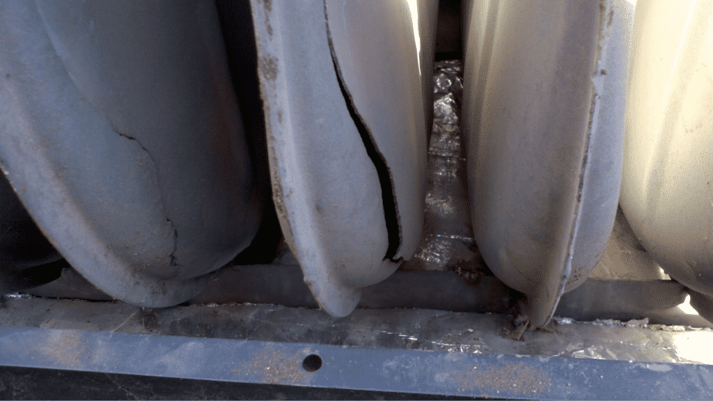Close-up of cracked heat exchanger
